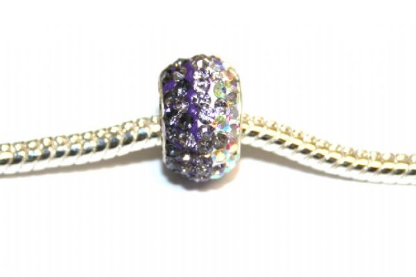 1pce x Light purple - lilac - clear pave crystal beads - 12mm x 8mm Pave Crystal Beads with 5mm hole PS-S-12- 036